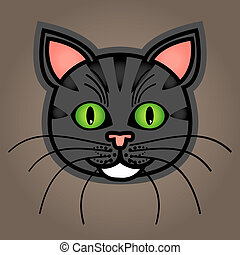 Cartoon grey tabby cat