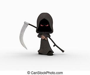 cartoon grim reaper character - 3d illustration of cute...