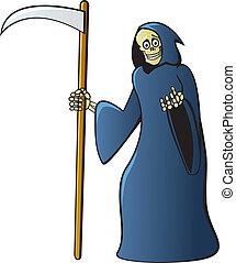 Cartoon Grim Reaper - A classic grim reaper skeleton in a...