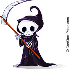 Cartoon grim reaper - Cute cartoon grim reaper with scythe...