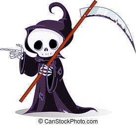 Cartoon grim reaper pointing - Cute cartoon grim reaper with...