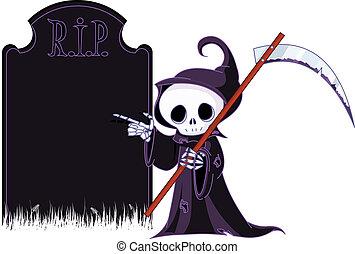 Cartoon grim reaper pointing to - Cute cartoon grim reaper...