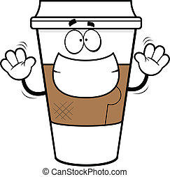 Cartoon Grinning Coffee Cup - Cartoon illustration of a...