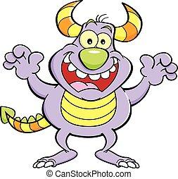 Cartoon grinning monster.