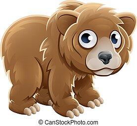 Cartoon Grizzly Bear Animal Character - A cute cartoon...