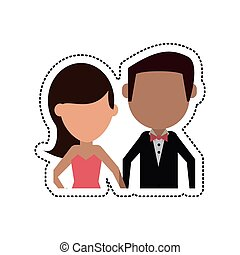 cartoon groom and bride couple