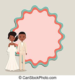 Cartoon groom, bride with space for text. Vector illustration.