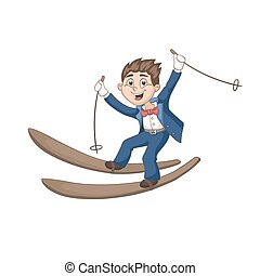 Cute cartoon groom on ski isolated on white background. Fun vector illustration of happy boy skiing in tuxedo. Lovely wedding character in pastel colors.