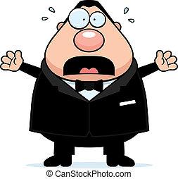Cartoon Groom Scared - A cartoon groom with a scared...
