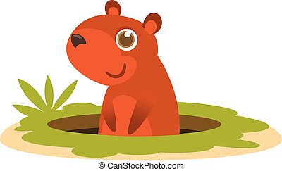 Cartoon groundhog. Vector illustration isolated