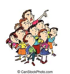 Cartoon group of children spectators watch