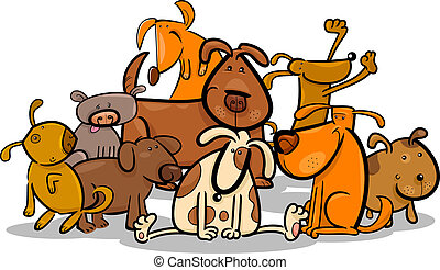 Cartoon Illustration of Cute Dogs or Puppies Group