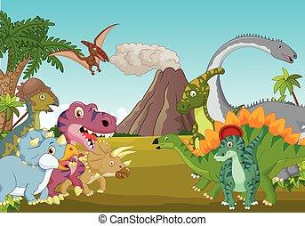 Cartoon group of dinosaur with moun - Vector illustration of...