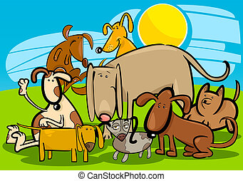 Cartoon Illustration of Funny Dogs or Puppies Group Against Blue Sky