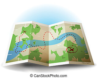 Illustration of a symbolized earth and treasure map icon with countries, river, and legends and grunge texture