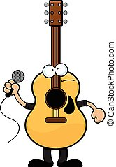 Cartoon illustration of a guitar man with a sad expression.