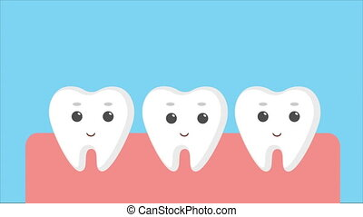 Cartoon gums with white baby teeth. Molar tooth growing...