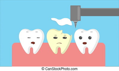 Cartoon gums with white teeth. Bad broken tooth repairing...