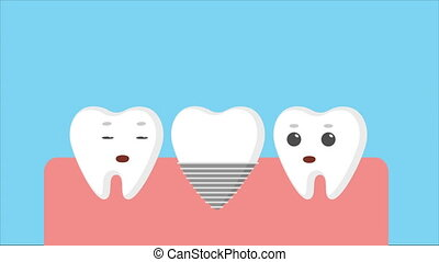 Cartoon gums with white teeth. Bad dead tooth removing and...