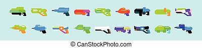 Cartoon gun collection. Flat vector colorful toys. Space laser guns design. Vector illustration isolated on blue background.