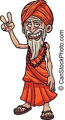 Cartoon guru making the peace hand sign. Vector clip art...