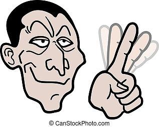 cartoon, hånd