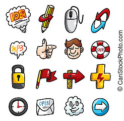 cartoon, hånd, hæve, væv ikoner, samling