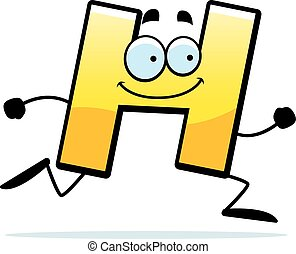 Cartoon H Running - A cartoon illustration of a letter H...