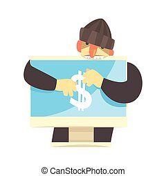 Cartoon hacker character stealing money from a personal computer,  cyber crime cartoon vector Illustration