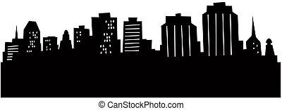 Cartoon Halifax Skyline - Cartoon skyline silhouette of the ...