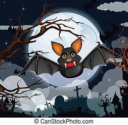 Cartoon Halloween bat flying