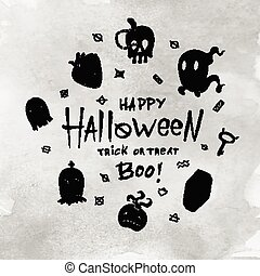 Cartoon Halloween card.