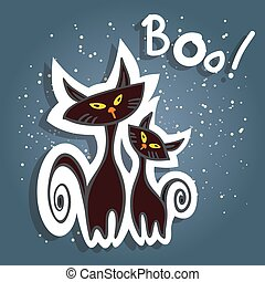 cartoon halloween cats