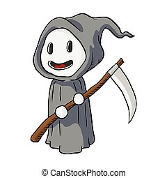 Cartoon Halloween, Death Monster-Vector Illustration