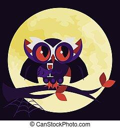 Cartoon Halloween dracula owl flat poster