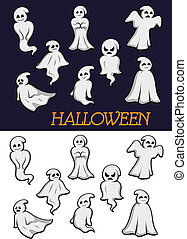 Cartoon Halloween ghosts