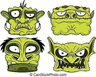 halloween green scary zombie head i