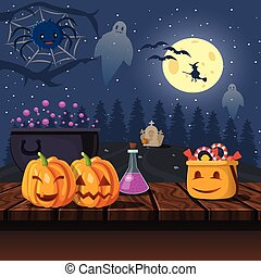 Cartoon Halloween Icons Illustration