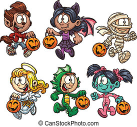 Halloween kids - Cartoon Halloween kids. Vector clip art...