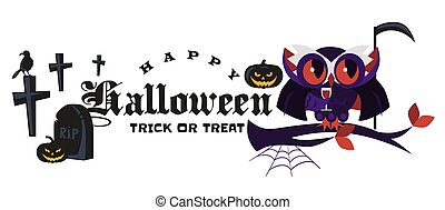 Cartoon Halloween logo dracula owl flat poster vector illustration. Magic night-bird in mask sitting on tree branch with glasses. All Hallows Eve concept. Isolated on white background.