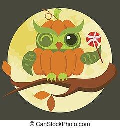 Cartoon Halloween orange pumpkin owl flat poster