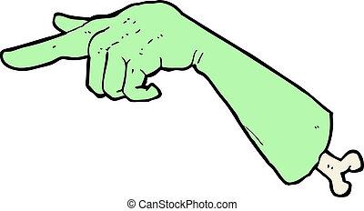 cartoon halloween pointing hand