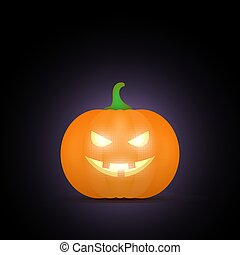 Cartoon halloween pumpkin. Pumpkin with sinister smiling face isolated on black background. Vector