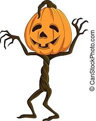 Cartoon Halloween pumpkin - Vector illustration of Cartoon...