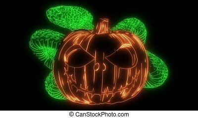 Cartoon halloween pumpkin wearing laser animation - Cartoon...