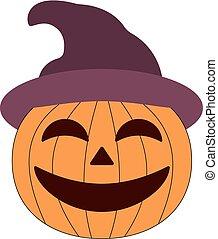 Cartoon halloween pumpkin wearing witch hat isolated