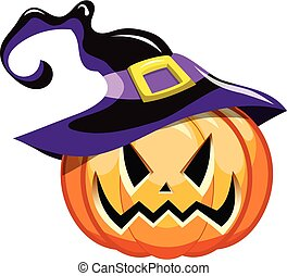 Cartoon halloween pumpkin witch hat isolated