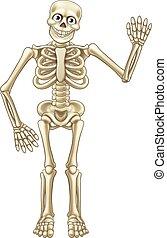 Cartoon Halloween Skeleton Waving