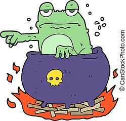 cartoon halloween toad - freehand drawn cartoon halloween...
