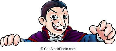 Cartoon Halloween Vampire Peeking Over Sign